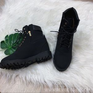 Shoes - Black and Gold Boots